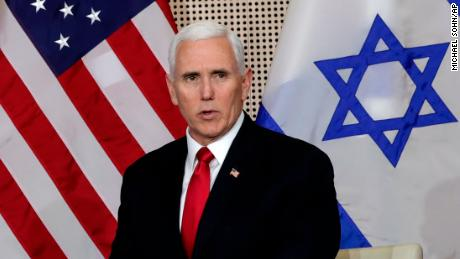 United States Vice President Mike Pence talks to the media during a bilateral meeting with Israeli Prime Minister Benjamin Netanyahu in Warsaw, Poland, Thursday, Feb. 14, 2019. The Polish capital is host for a two-day international conference on the Middle East, co-organized by Poland and the United States. (AP Photo/Michael Sohn)