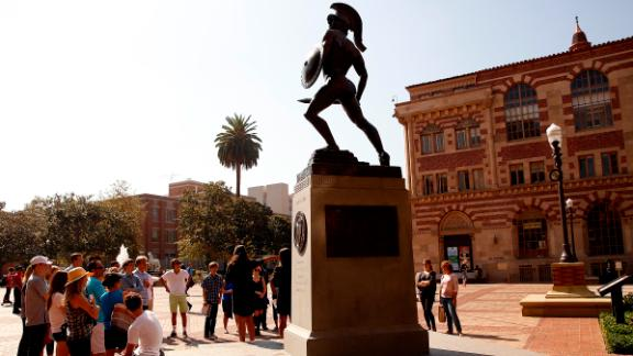 "LOS ANGELES, CA SEPTEMBER 23, 2015 -- The statue called ""Tommy Trojan"", the mascot of USC from 1930 located at the center of the USC campus on September 23, 2015, three weeks before the USC announced they have fired Trojans football coach Steve Sarkisian.  (Al Seib / Los Angeles Times via Getty Images)"