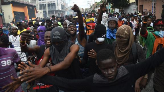Demonstrators were out on the streets of the Haitian capital Tuesday.