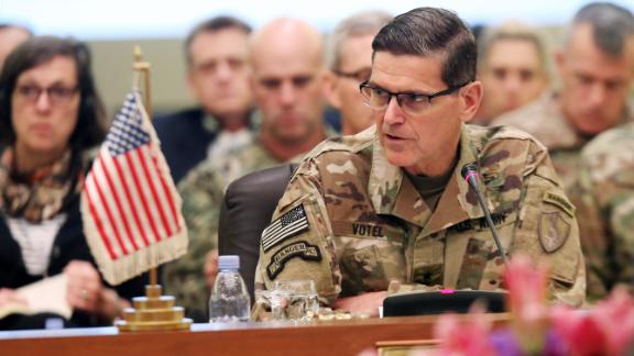 Commander of United States Central Command Joseph Leonard Votel (R), speaks during a meeting with the Gulf cooperation council