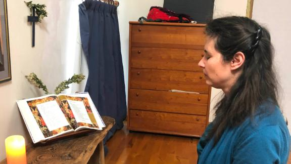 Lucie keeps a prayer corner in the home she shares with her husband and children.