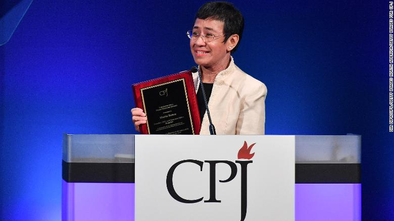 Ressa speaks onstage at the Committee To Protect Journalists' International Press Freedom Awards in November 2018.