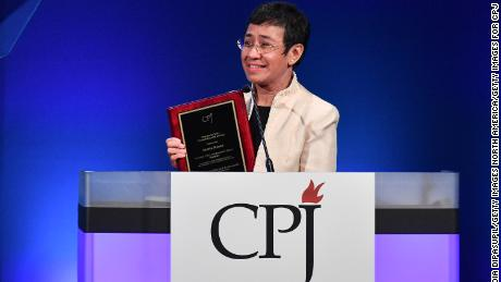 Ressa speaks onstage at the Committee to Protect Journalists & # 39; The International Press Freedom Awards in November 2018.
