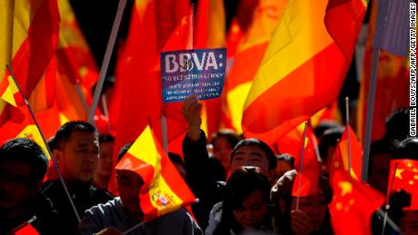 Protests took place outside a BBVA office in Madrid on Friday.