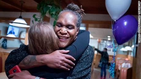 Andrea Jenkins hugs a supporter in 2017, upon winning a Minneapolis City Council seat.