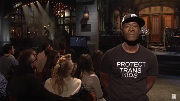 """Host Don Cheadle sent a message with this T-shirt on """"Saturday Night Live."""""""