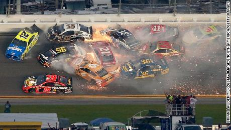 A huge crash disrupted the 61st Daytona 500 race.