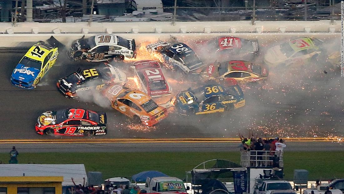 Daytona 500: Denny Hamlin wins after huge crashes