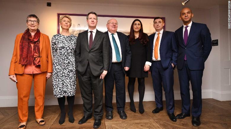 (L-R) Labour MP's Anne Coffey, Angela Smith, Chris Leslie, Mike Gapes, Luciana Berger, Gavin Shuker and Chuka Umunna announce their resignation from the Labour Party.
