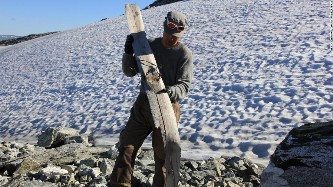 Prehistoric and medieval skis have melted out of the glacial ice. This ski is radiocarbon-dated to around 700 AD.