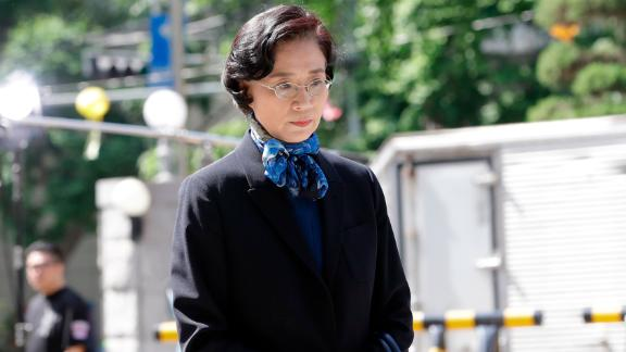 Lee Myung-hee, the wife of Korean Air Chairman Cho Yang-ho, arrives for questioning at Seoul Metropolitan Police Agency in Seoul, South Korea, Monday, May 28, 2018.