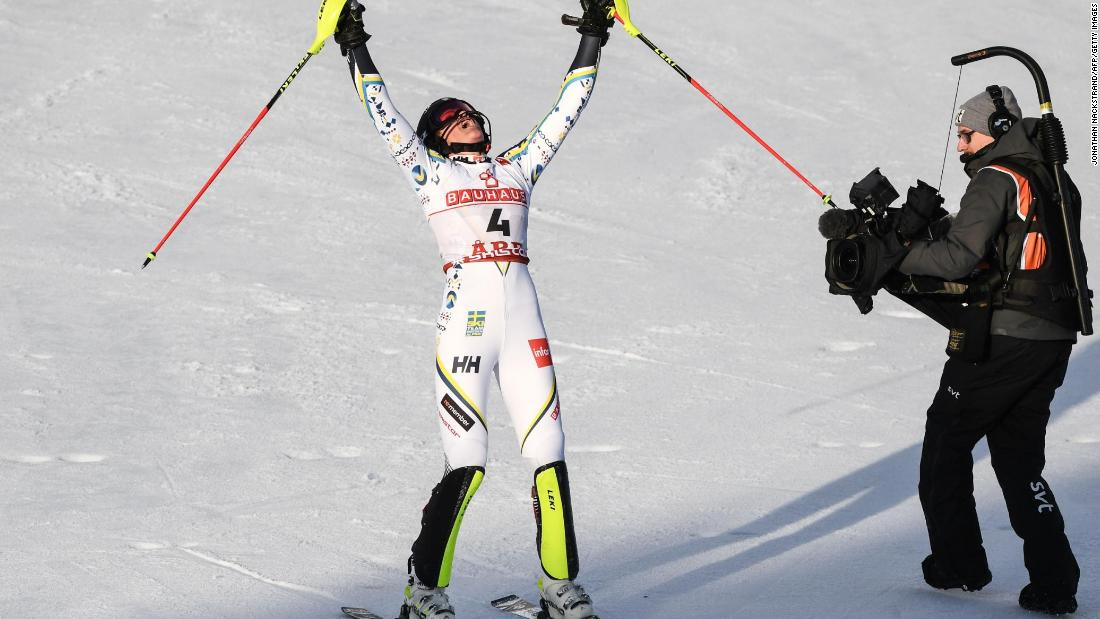 Sweden's Anna Swenn-Larsson reacts after winning silver in the slalom at the World Ski Championships in Are.