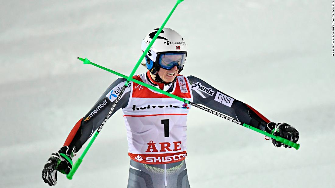 Henrik Kristoffersen of Norway steps out of long-time rival Marcel Hrischer's shadow to win gold in the giant slalom in Are.