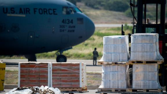 Food and medicine aid for Venezuela is unloaded from a US Air Force C-17 aircraft at Camilo Daza International Airport in Cucuta, Colombia.