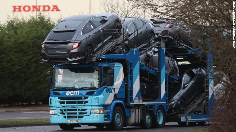 A car transporter at the Honda plant in Swindon.