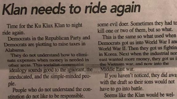 """The Democrat-Reporter newspaper ran a February 14 editorial calling for the Ku Klux Klan """"to ride again."""""""