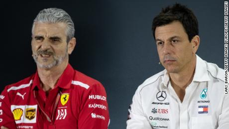 Toto Wolff (R) believes a no-deal Brexit will give teams like Ferrari an advantage.