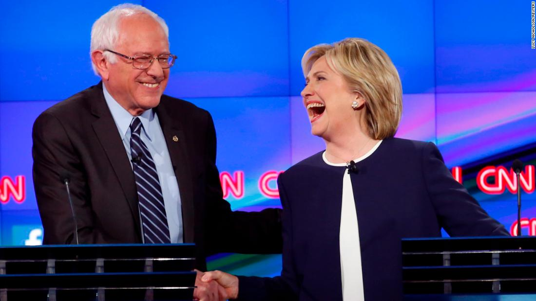 "<a href=""http://www.cnn.com/2015/10/13/politics/gallery/democratic-debate-las-vegas/index.html"" target=""_blank"">Sanders shakes hands with Hillary Clinton</a> at a Democratic debate in Las Vegas in October 2015. The hand shake came after Sanders' take on <a href=""http://www.cnn.com/2015/09/03/politics/hillary-clinton-email-controversy-explained-2016/index.html"" target=""_blank"">the Clinton email scandal.</a> ""Let me say something that may not be great politics, but the secretary is right -- and that is that the American people are sick and tired of hearing about the damn emails,"" Sanders said. ""Enough of the emails, let's talk about the real issues facing the United States of America."""