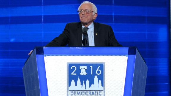 Sanders addresses delegates on the first day of the Democratic National Convention in July 2016.