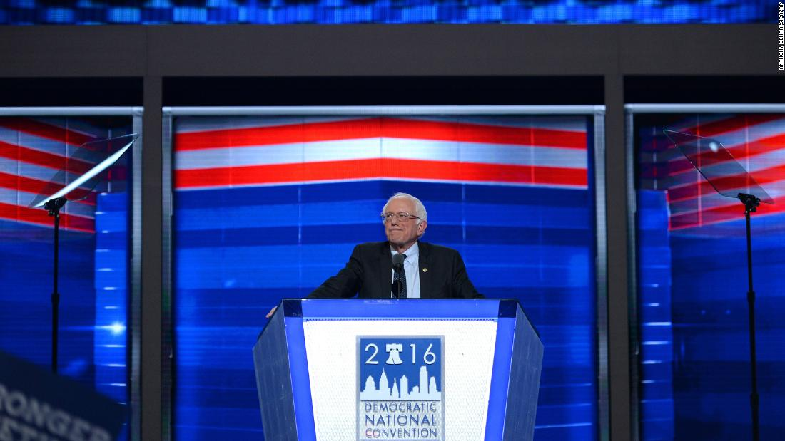 "Sanders <a href=""http://www.cnn.com/2016/07/25/politics/bernie-sanders-democratic-national-convention-speech/"" target=""_blank"">addresses delegates</a> on the first day of the Democratic National Convention in July 2016."