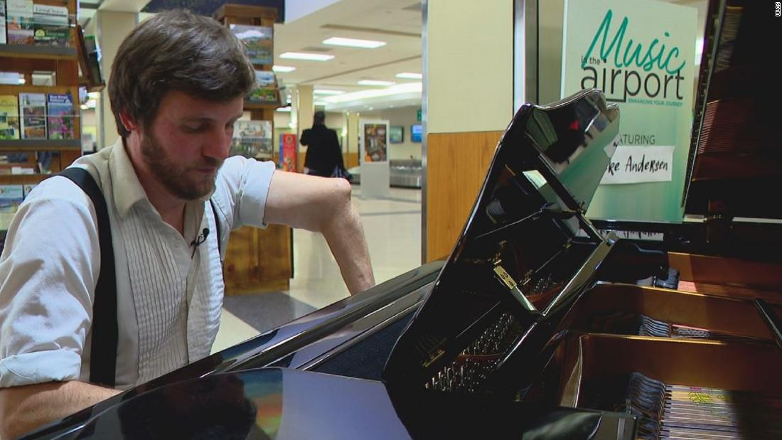 Pianist's near-death experience is story behind music at airport