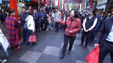 Tsai met with his voters on a street in the capital, Taipei on February 18th.