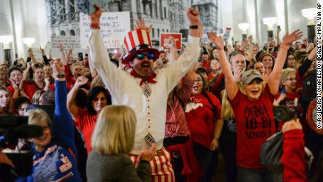 Teachers celebrated after lawmakers postponed voting on SB 451. But they're not done striking.