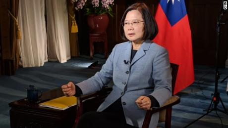 Taiwan President Tsai Ing-wen in conversation with CNN's Matt Rivers on February 19.