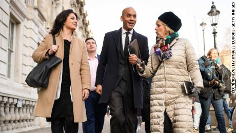 Independent Group MPs Heidi Allen, left, with Chuka Umunna and Anna Soubry