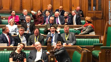 A photo shared by MP John Lamont showed the Independent Group as they took their seats in the House of Commons on Wednesday.