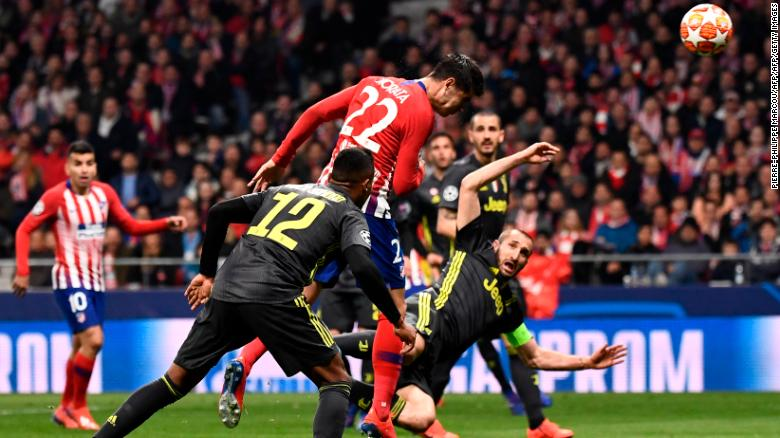 Atletico's Alvaro Morata had his effort ruled out for a foul.