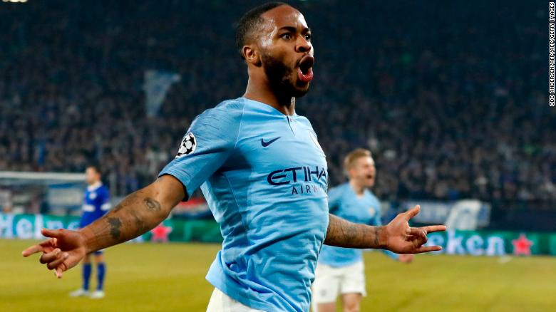 Manchester City's Raheem Sterling celebrates after scoring the winning goal.
