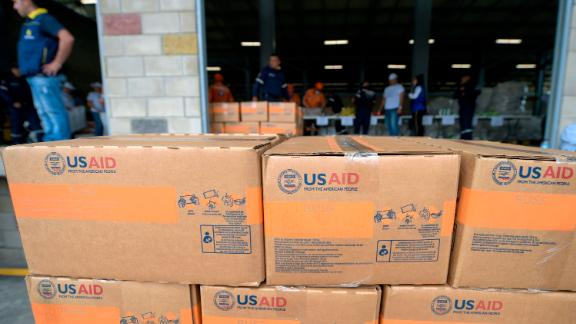 Boxes of US humanitarian aid in Cucuta, Colombia.
