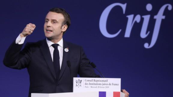 Macron addresses Jewish leaders during a speech on Wednesday