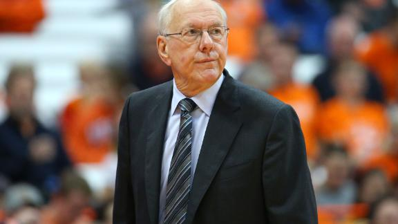 SYRACUSE, NEW YORK - NOVEMBER 06:  Head coach Jim Boeheim of the Syracuse Orange reacts to a play against the Eastern Washington Eagles during the second half at the Carrier Dome on November 06, 2018 in Syracuse, New York. Syracuse defeated Eastern Washington 66-34. (Photo by Rich Barnes/Getty Images)