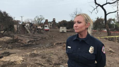 Montecito Fire Department supervisor Maeve Juarez in front of the devastation left behind by a 2018 mudslide.