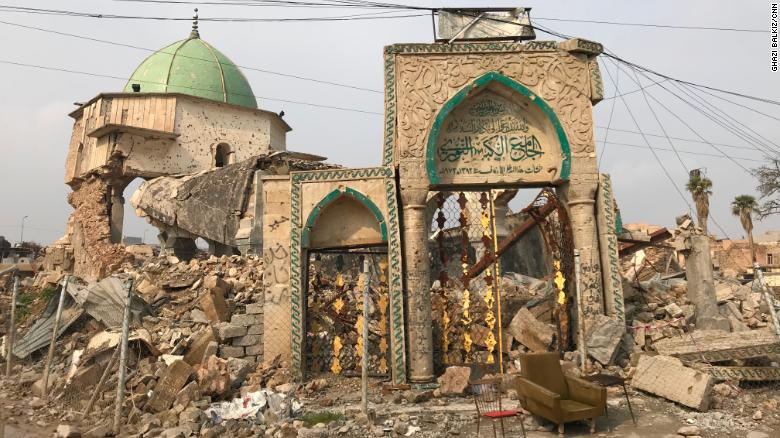 The gate of the al-Nuri Mosque still stands despite heavy attacks during the battle for Mosul.