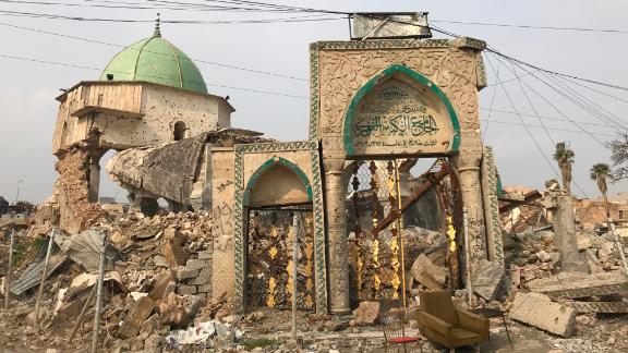 The gate of the al-Nuri Mosque still stands despite heavy attacks during the battle for Mosul.