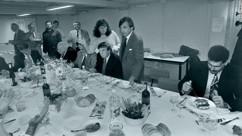 Donald Trump (seated, center) on his 1996 visit to Moscow. To his right are real estate moguls Bennett LeBow and Howard Lorber.