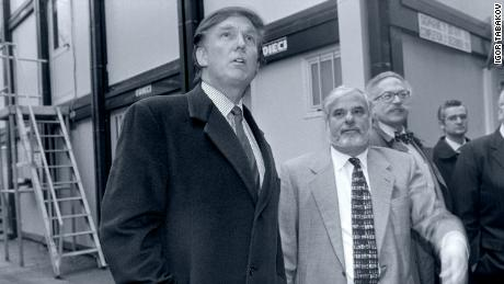 Trump (left) is accompanied in Moscow by real estate agent Bennett LeBow (others from the left).