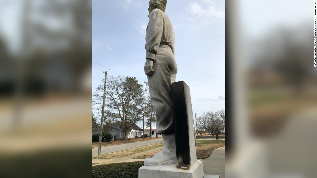 Vandals in North Carolina set fire to Gen. Lee statue, but not the Confederate one