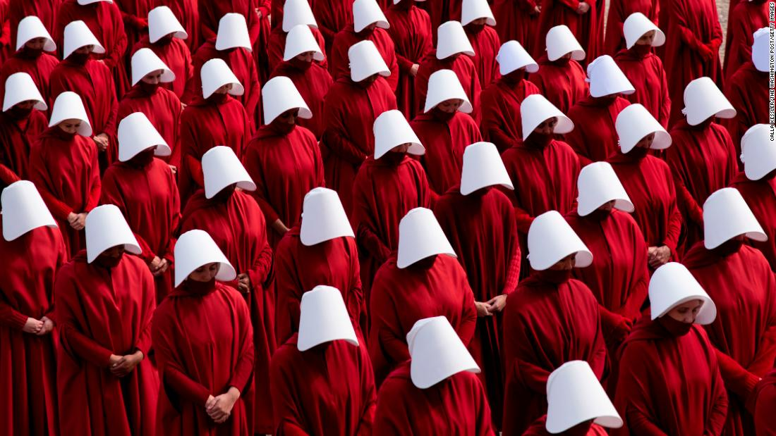 "A scene from the television series ""The Handmaid's Tale"" is filmed on the National Mall in Washington on Friday, February 15."