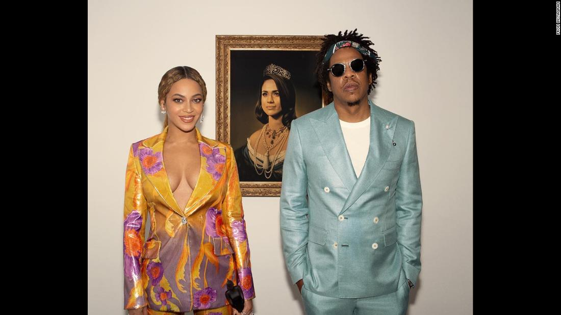 "Singer Beyonce and her husband, rapper Jay-Z, pose in front of a portrait of Meghan, the Duchess of Sussex, as they <a href=""https://www.cnn.com/style/article/beyonce-brit-awards-meghan-duchess-of-sussex-jay-z-trnd/index.html"" target=""_blank"">accept a Brit Award via video message</a> on Wednesday, February 20. ""In honor of Black History Month, we bow down to one of our Melanated Monas,"" <a href=""https://www.instagram.com/p/BuHvVDPgVdF/"" target=""_blank"">Beyonce said on her Instagram account.</a> ""Congrats on your pregnancy! We wish you so much joy."""