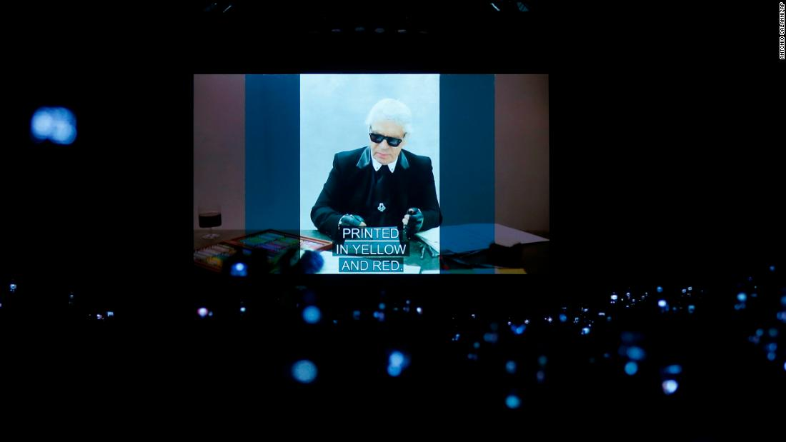A video presentation showing the late Karl Lagerfeld is shown at a Fendi fashion show in Milan, Italy, on Thursday, February 21. Lagerfeld, one of the 20th century's most influential and recognizable fashion designers, died February 19 at the age of 85.