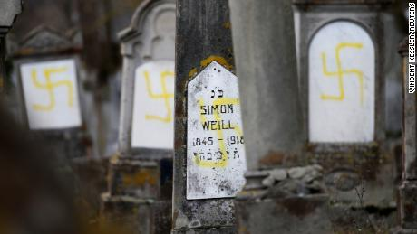 Graves at the Jewish cemetery in Quatzenheim, near Strasbourg, France, have been desecrated with swastikas