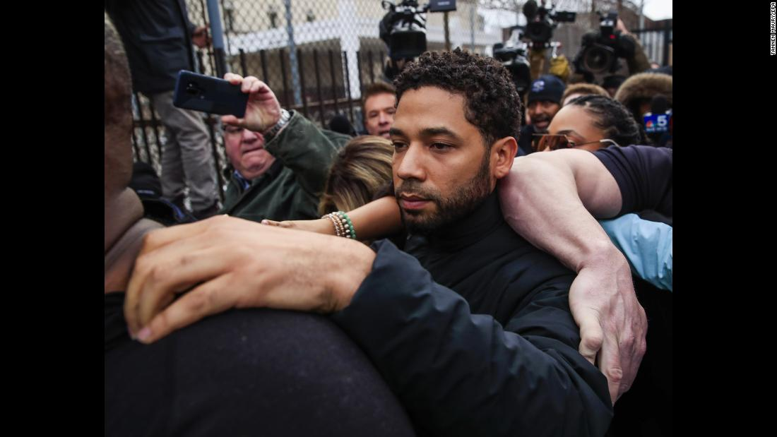 "Actor Jussie Smollett leaves a Chicago courthouse on Thursday, February 21, after he had been arrested on suspicion of filing a false police report. Last month, <a href=""https://www.cnn.com/2019/01/29/entertainment/jussie-smollett-attack/index.html"" target=""_blank"">Smollett told police</a> he was attacked by two people who were ""yelling out racial and homophobic slurs"" -- one of whom tied a rope around his neck and poured an unknown substance on him. This week, <a href=""https://www.cnn.com/2019/02/21/entertainment/jussie-smollett-thursday/index.html"" target=""_blank"">police superintendent Eddie Johnson said Smollett paid two men to stage the attack</a> ""because he was dissatisfied with his salary."" Smollett's camp has released no statements since he turned himself in, but his attorneys previously promised an ""aggressive defense."" Smollett, who faces a felony charge of disorderly conduct, was released after posting bail."
