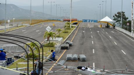 The Venezuelan government has used containers to barricade the Tienditas Bridge and prevent aid from entering.