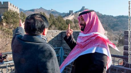 Saudi Crown Prince Mohammad Bin Salman (right) visiting the Great Wall of China with Ambassador Li Huaxin in February 2019.