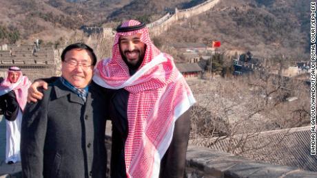 Saudi prince Mohammad Bean Salman with the Ambassador of China to Saudi Arabia, Li Huasmin, on the Great Wall of China, in February 2019. Great Wall of China, in February 2019.