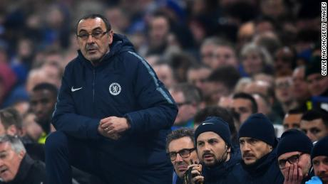 Maurizio Sarri watches on during Chelsea's Europa League win over Malmo.